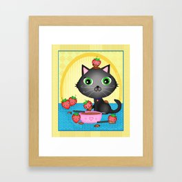 Kitty Cat With Fondue Chocolate Covered Strawberries Framed Art Print