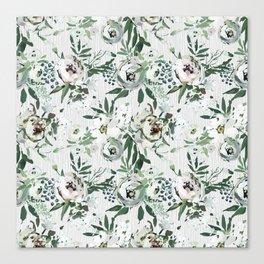 Green white blush pink watercolor geometrical floral Canvas Print
