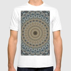 Mandala in coffe and blue colors Mens Fitted Tee MEDIUM White