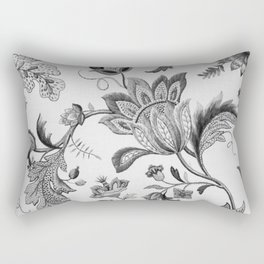 Floral Black and White Rectangular Pillow