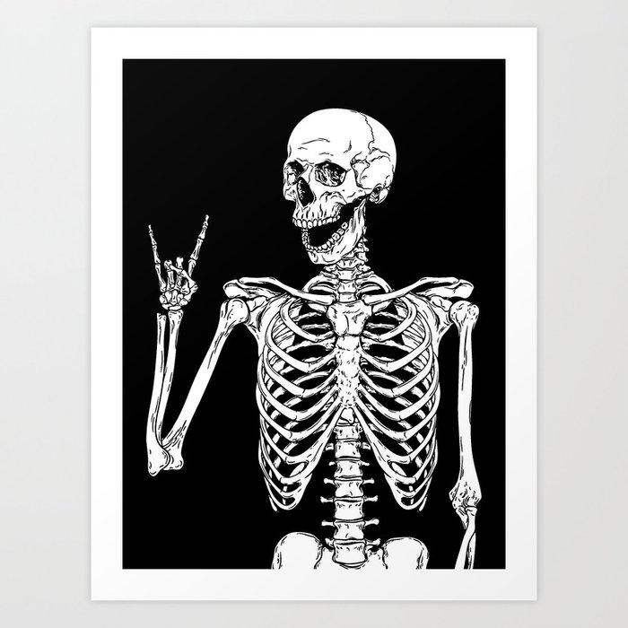 Rock and Roll Skeleton Kunstdrucke