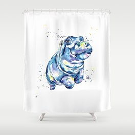 Hippo Colorful Watercolor Hippo Painting - Grace Shower Curtain