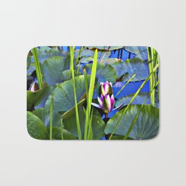 Blue AQUATIC DREAMS of Water Lillies Bath Mat