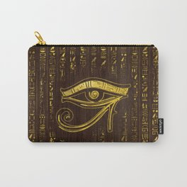 Golden Egyptian Eye of Horus  and hieroglyphics on wood Carry-All Pouch
