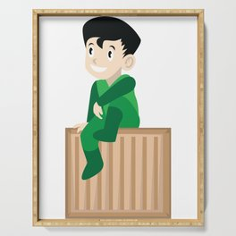 A Perfect Gift For Your Sibling Or Friend An Illustration Of  A Boy Sitting On A Box T-shirt Design Serving Tray