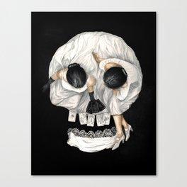 Tarot Reader Girl - Optical Illusion Skull Canvas Print