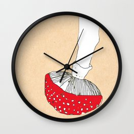 Mushroom. Art Print. Wall Art.  Hipster. Nature. Wall Clock