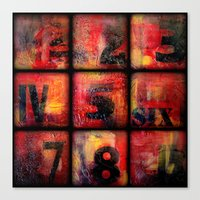 numbers Canvas Prints featuring Numbers by Liz Moran