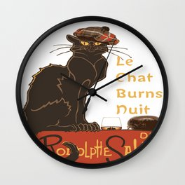 Le Chat  Burns Nuit With Haggis and Dram Wall Clock