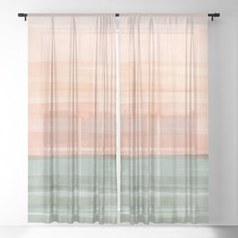 Soft Green Waves on a Peach Horizon, Abstract _watercolor color block Sheer Curtain