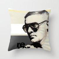 ben giles Throw Pillows featuring Reserved Magazine Giles Deacon by Mitja Bokun