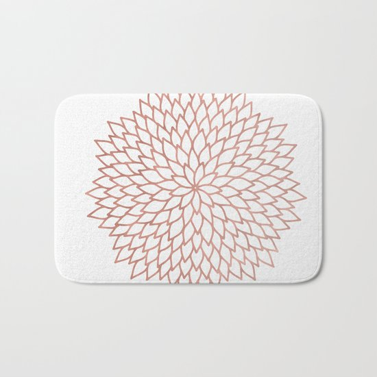 Mandala Flower Rose Gold on White Bath Mat