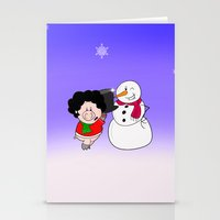 snowman Stationery Cards featuring Snowman by Afro Pig