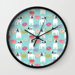 French Bulldog cute mint pastel cute donuts sweet treat doughnuts junk food dessert foods and dogs Wall Clock