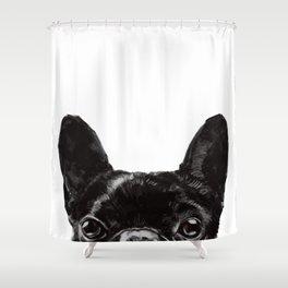 Peeking French Bulldog Shower Curtain