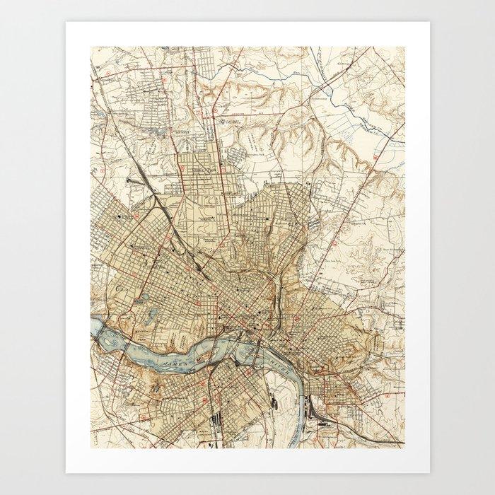Vintage Map of Richmond Virginia (1934) Art Print by bravuramedia ...