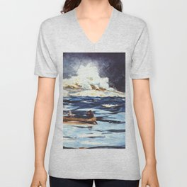 Under The Falls The Grand Discharge 1895 By WinslowHomer | Reproduction Unisex V-Neck