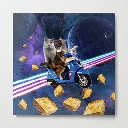 cat scooter travel with lasagne galaxy Metal Print