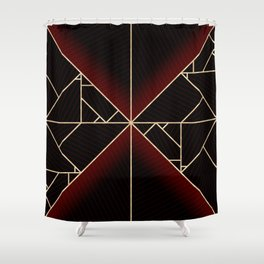 Deco Triangles Red Shower Curtain