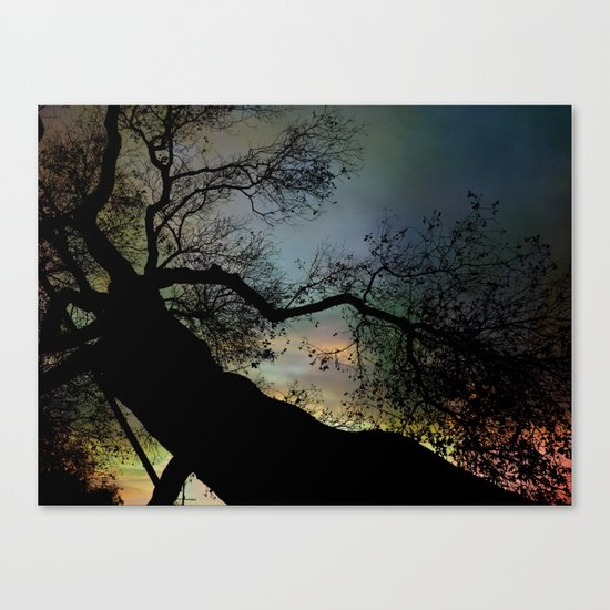 Night Fall by The Tree Canvas Print