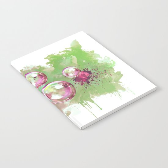 Soap bubbles in the sky watercolor painting Notebook