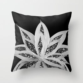Gray Agave with Black Silver Glitter #2 #shiny #tropical #decor #art #society6 Throw Pillow