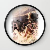 big sur Wall Clocks featuring BIG SUR by TOO MANY GRAPHIX