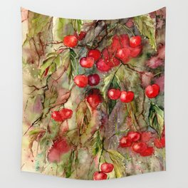 October Cherries Wall Tapestry