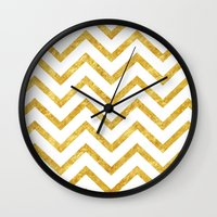 gold foil Wall Clocks featuring Gold Foil Chevron by NeoQlassical
