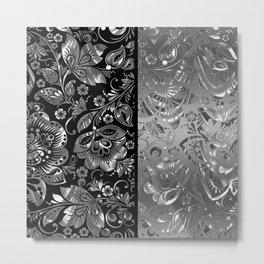 Metallic Silver Vintage Damasks Pattern Metal Print
