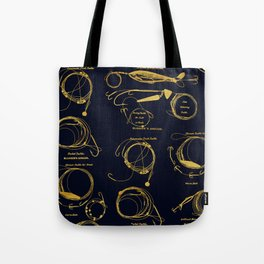 Maritime pattern- Gold fishing gear on darkblue background Tote Bag