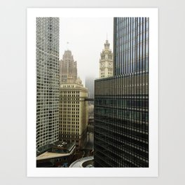 Chicago Buildings in Fog Color Photo Art Print