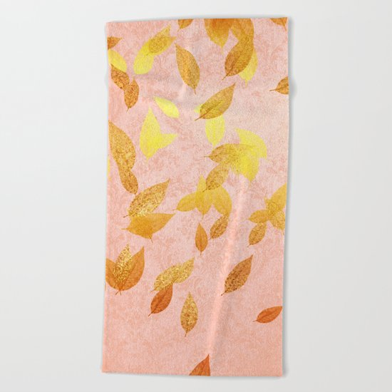 Autumn-world 2 - gold glitter leaves on pink backround Beach Towel