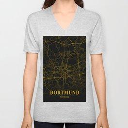 Dortmund - Germany Gold City Map Unisex V-Neck