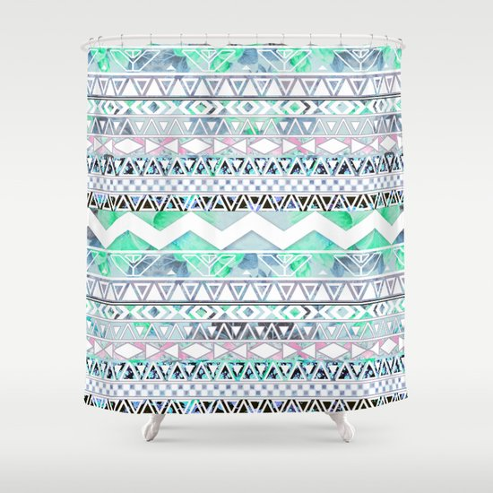 Teal Girly Floral White Abstract Aztec Pattern Shower