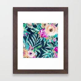 SO CASUAL Dark Tropical Palm Floral Framed Art Print