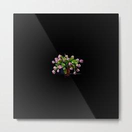 Pink tulips bouquet in glass vase Metal Print