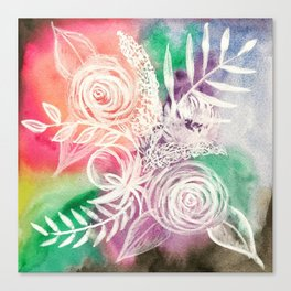 Pastel Rainbow Multicolor White Floral Watercolor Canvas Print