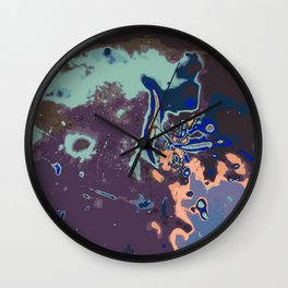 purple blue pink and green abstract background Wall Clock
