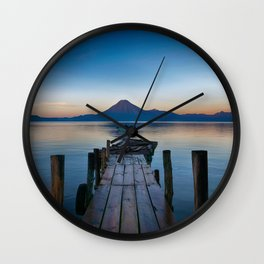 The Dock Sunset (Color) Wall Clock