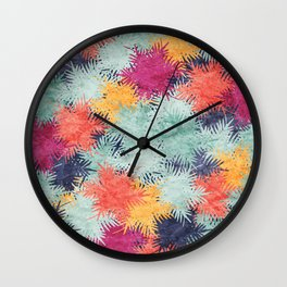 Tropical Fan Palm Paradise – Colorful #03 Wall Clock