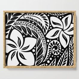 Circular Polynesian White Floral Tattoo Serving Tray