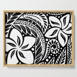 Circular Polynesian White Floral Tattoo Serving Tray