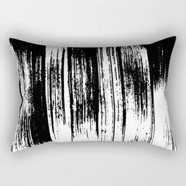 Modern black white watercolor brushstrokes pattern Rectangular Pillow