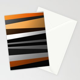 Metallic II - Abstract, geometric, metallic effect stripes, gold, silver, black Stationery Cards
