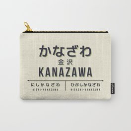 Vintage Japan Train Station Sign - Kanazawa Ishikawa Cream Carry-All Pouch