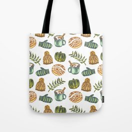 Watercolor Winter Objects Tote Bag