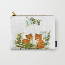 Vintage dream- little Winterfoxes in snowy forest Carry-All Pouch