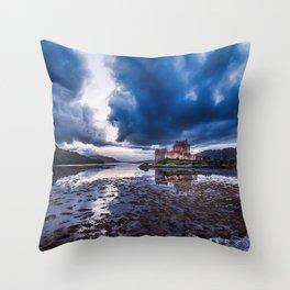 Dark Skies at Eilean Donan Castle Throw Pillow