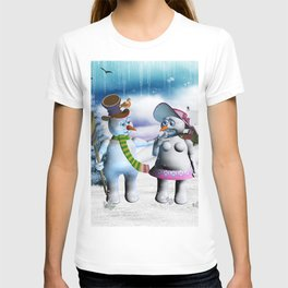 Funny, cute snowman and snow women T-shirt